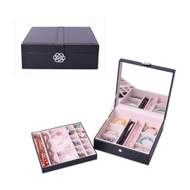 Two-Layer Black Jewellery Box with Multiple Compartments and Mirror (Size 26x26x9cm)
