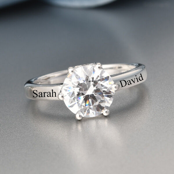 Personalised Engravable J Francis - Sterling Silver Solitaire Ring Made with SWAROVSKI ZIRCONIA 3.380 Ct.