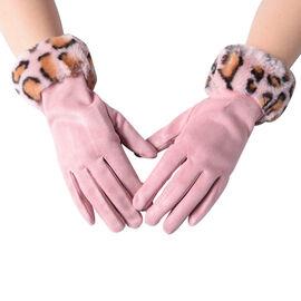 Faux Fur Leopard Print Trim Gloves (Size 9x23cm) - Pink