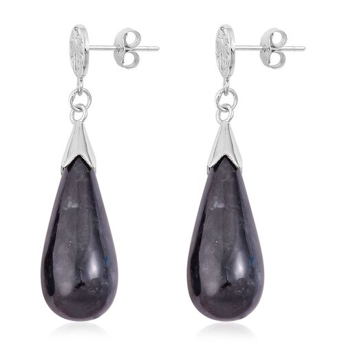 One Time Deal-Black Jade Chinese Character FU (Happiness) Drop Earrings (with Push Back) in Rhodium Plated Sterling Silver 36.000 Ct.