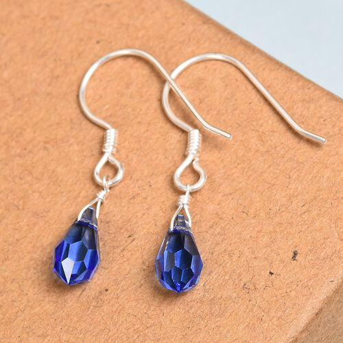J Francis Crystal from Swarovski Sapphire Colour Crystal Hook Earrings in Sterling Silver