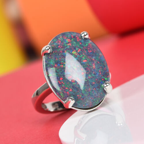 Extremely Rare Size- AAA Boulder Opal (OV 20X15 mm) in Platinum Overlay Sterling Silver Ring.