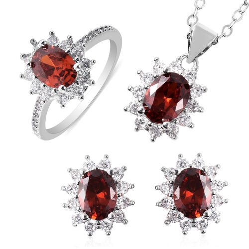 3 Piece Set - Mozambique Red Garnet and Simulated Diamond Sunburst Theme Ring, Stud Earrings (with P