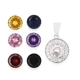 New Concept - Interchangeable Multi Simulated Gemstone Pendant in Rhodium Overlay Sterling Silver