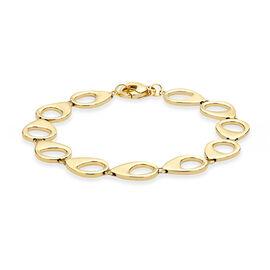 Italian Made 9K Yellow Gold Fancy Peacock Link Bracelet (Size 7.25), Gold wt 7.78 Gms.