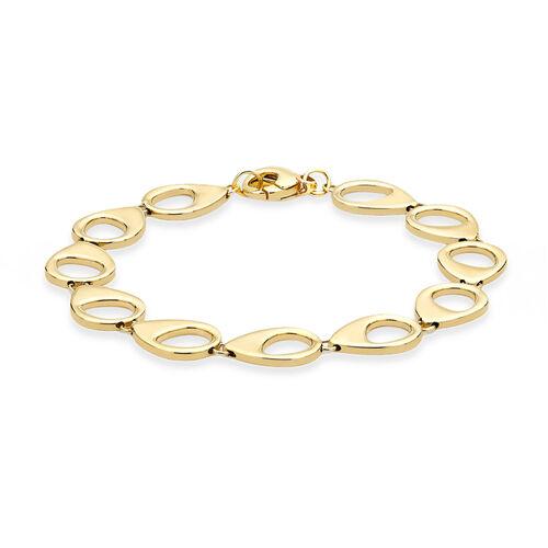 Italian Made Fancy Teardrop Link Bracelet in 9K Gold 8.40 Grams