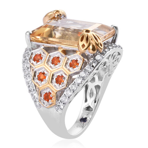 GP Citrine (Oct 8.00 Ct), Jalisco Fire Opal, Natural Cambodian ZIrcon and Blue Sapphire Bee and Honeycomb Design Ring in Platinum and Yellow Gold Overlay Sterling Silver 11.750 Ct, Silver wt 6.00 Gms.