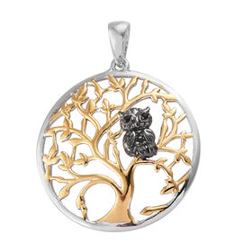 Boi Ploi Black Spinel (Rnd) Tree Pendant in Yellow Gold and Platinum Overlay and Black Plating Sterling Silver