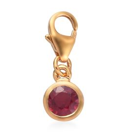 0.75 Ct African Ruby Charm in Gold Plated Sterling Silver