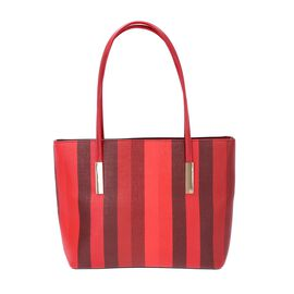 Classic Stripe Pattern Tote Bag with Zipper Closure and External Pocket (Size 32x11x26 Cm) - Red