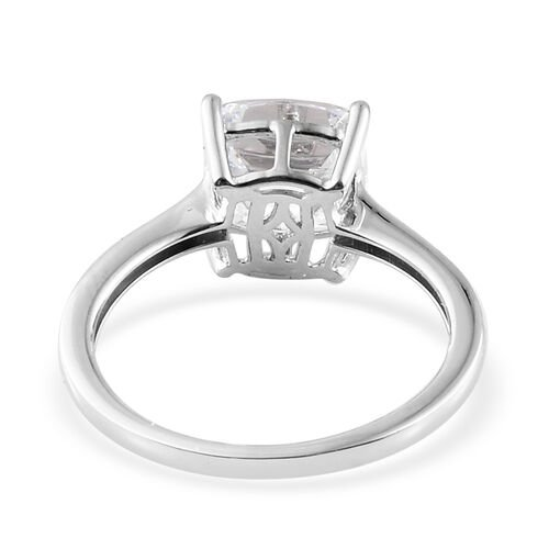J Francis - 9K White Gold (Cush 8x8 mm) Solitaire Ring Made with SWAROVSKI ZIRCONIA