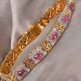 Sundays Child African Ruby and Natural White Zircon Bracelet (Size 7.5) in 14K Gold and Platinum Overlay Sterling Silver 11.50 Ct, Silver wt 21.00 Gms