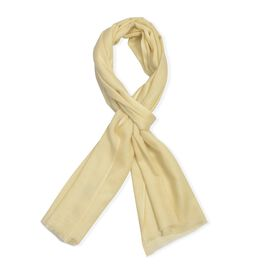 100% Cashmere Wool Cream Colour Scarf (Size 200x70 Cm)
