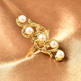 Japanese Akoya Pearl Ring in Yellow Gold Overlay Sterling Silver