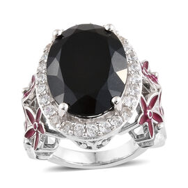 13.50 Ct Black Tourmaline and Zircon Halo Ring in Platinum Plated in Sterling Silver
