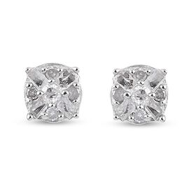 Diamond Stud Earrings (with Push Back) in Platinum Overlay Sterling Silver