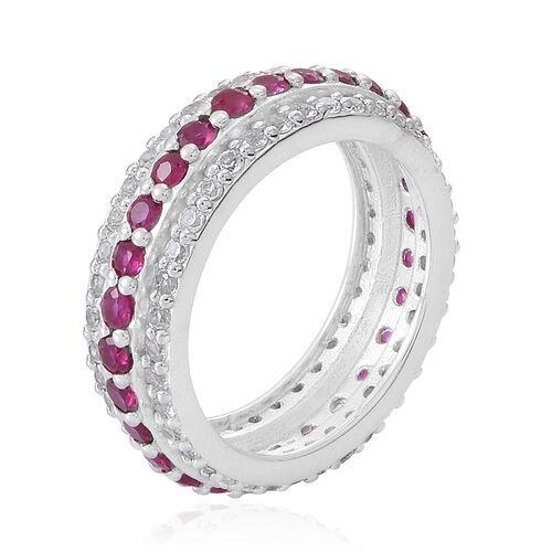 Burmese Ruby (Rnd), White Topaz Full Eternity Ring in Rhodium Plated Sterling Silver 2.500 Ct.