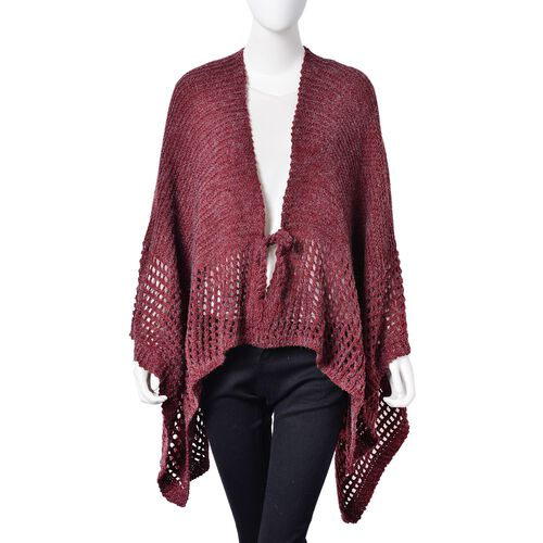 Wine Red Colour Crochet Pattern Knitted Cardigan (Size 130X58 Cm)