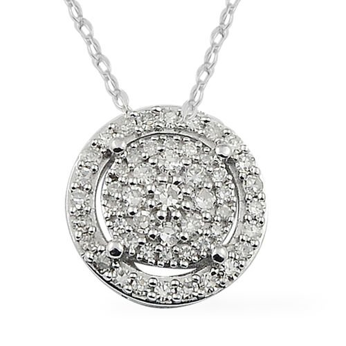 14K White Gold Diamond (I2/G-H) Pendant with Chain 0.25 Ct.