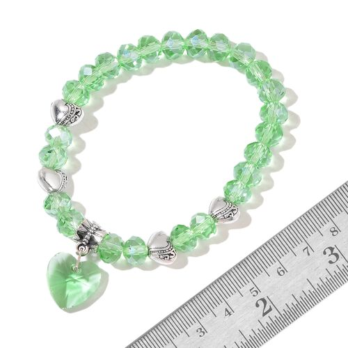 Set of 5 - Simulated Grey Moonstone, Simulated Diopside, Simulated Tanzanite, Simulated Aquamarine and Simulated Ruby Bracelet (Size 6.50) with Heart Charm in Silver Tone