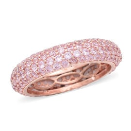 Simulated Pink Diamond Band Ring in Rose Gold Tone