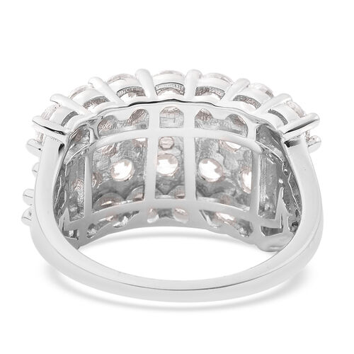 J Francis Rhodium Overlay Sterling Silver Ring Made with SWAROVSKI ZIRCONIA 8.00 Ct.