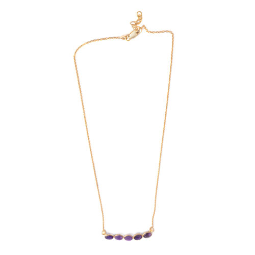 Amethyst (Rnd) Necklace (Size 18 with 1 inch Extender) in Yellow Gold Overlay Sterling Silver 2.500 Ct.