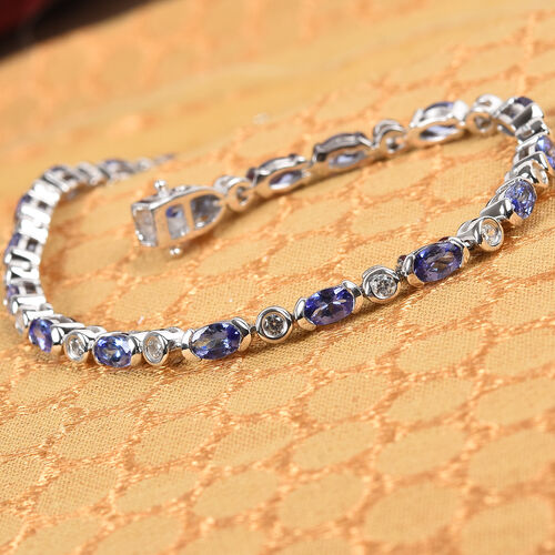 AAA Tanzanite and Natural Cambodian Zircon Bracelet (Size 7.5) in Platinum Overlay Sterling Silver 6.00 Ct., Platinum wt. 9.81 Gms