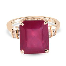 9K Yellow Gold AA  African Ruby (FF) and Diamond Ring 8.70 Ct