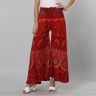 100% Cotton Mandala Print Palazzo - Red