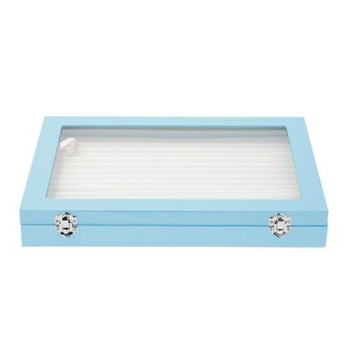150 Slot Ring Box with Acrylic Window and Anti Tarnish Lining Trinket Jewellery Organiser (Size 35x24x5 Cm) - Sky Blue