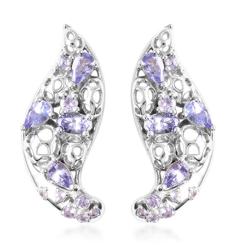 RACHEL GALLEY Misto Collection - Tanzanite Earrings (with Push Back) in Rhodium Overlay Sterling Sil