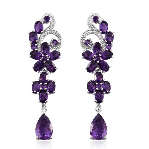 Designer Inspired- Amethyst (Pear), Natural Cambodian Zircon Floral Earrings (with Push Back) in Platinum Overlay Sterling Silver 14.750 Ct. Silver wt. 10.06 Gms.