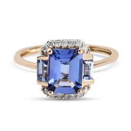 9K Yellow Gold Tanzanite and Diamond Ring 1.92 Ct