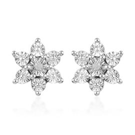 Diamond (Rnd) Floral Earrings (with Push Back) in Platinum Overlay Sterling Silver
