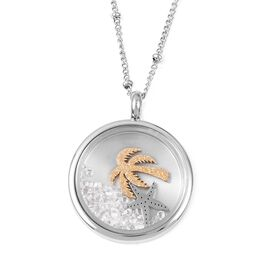 Simulated Diamond (Rnd), White Austrian Crystal Necklace (Size 20.50) and Pendant in Dual Tone Stain