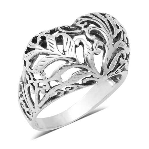 Designer Close Out Sterling Silver Heart Ring, Silver wt 4.68 Gms