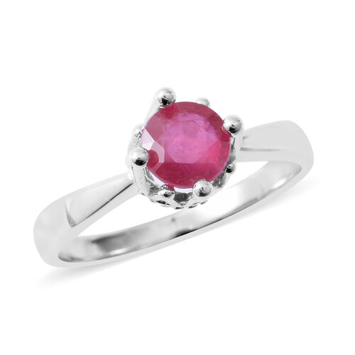African Ruby (Rnd) Solitaire Ring in Rhodium Overlay Sterling Silver 1.250 Ct.