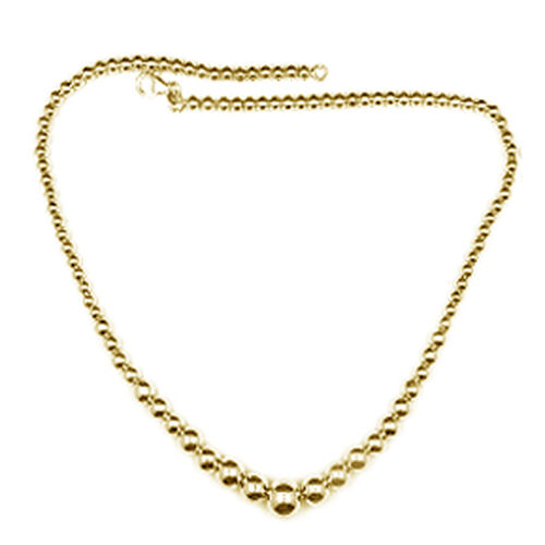 Limited Edition- Designer Inspired-JCK Vegas Collection Yellow Gold Overlay Sterling Silver Graduated Beads Necklace (Size 18 with 3 inch Extender), Silver wt 22.53 Gms.