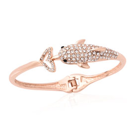 White and Black Austrian Crystal Dolphin Bangle in Rose Gold Tone 6.75 Inch