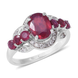 Designer Inspired African Ruby (Ovl 9x7 2.65ct), Natural White Cambodian Zircon Ring in Rhodium Over