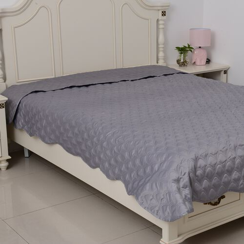 King Size Luxury Satin Quilt with Geometrical Embroidery and Scalopped Edges in Mermaid Grey Colour