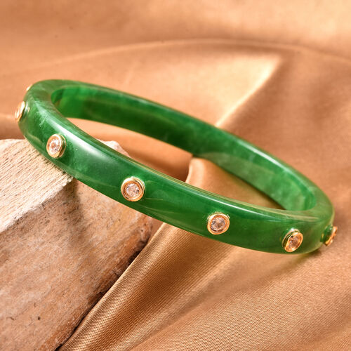 Green Jade and Natural Cambodian Zircon Bangle (Size 7.5) in Sterling Silver 128.00  Ct.