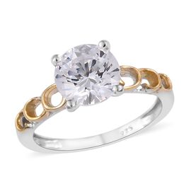 J Francis - Platinum and Yellow Gold Overlay Sterling Silver (Rnd 8mm) Solitaire Ring Made with SWAR