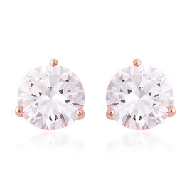ELANZA- Swiss Star Cut Cubic Zirconia(Rnd 10mm) Stud Earrings (with Push Back) in Rose Gold Plated S