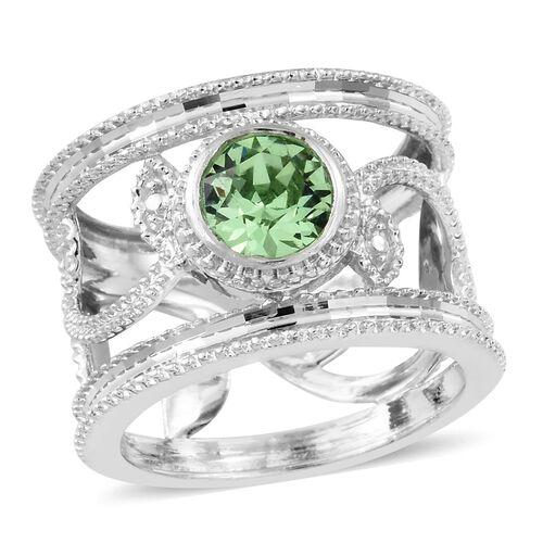 J Francis Crystal from Swarovski - Peridot Crystal (Rnd) Ring in Rhodium Plated Sterling Silver, Sil