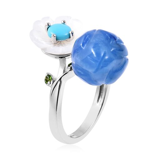 GP Blue Jade, Arizona Sleeping Beauty Turquoise and  Multi Gemstone Flower and Bud Bypass Ring in Rhodium Overlay Sterling Silver 12.98 Ct.