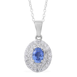 Signature Collection - Extremely Rare Ceylon Sapphire (Ovl 1.05 Ct), Natural Zircon Double Halo Pend