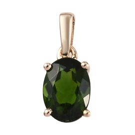 9K Yellow Gold AA Russian Diopside (Ovl) Solitaire Pendant  0.850 Ct.