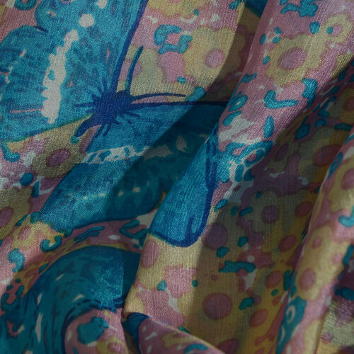 Designer Inspired - 100% Mulberry Silk Blue, Pink and Multi Colour Handscreen Butterfly and Floral Printed Scarf (Size 200X88 Cm) (Silk Wt. 40 Gms)